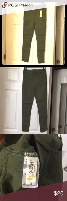 Olive Jeggings Olive stretchy jeggings that are a size small (0-4). Lovely fall color. Only tried on, brand new with tags. LARA Jeans Skinny