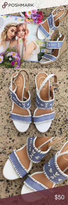 Jack Rogers Blue White Ankle Strap Wedge Sandals 0721💕💕perfect for the warm weather! Nice embroidered details. Perfect neutral color that can match your outfit. Still in very great condition. With areas of signs of wear but unnoticeable as seen in pictures (#3 and #8) MADE IN DOMINICAN REPUBLIC. Sharing the love💕💕 Measurement: heel height: 3 3/4 inches Jack Rogers Shoes Wedges