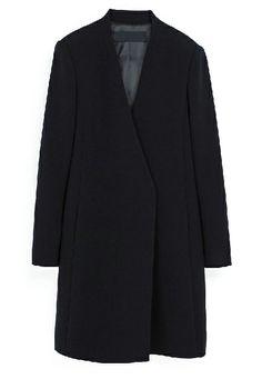 Black V Neck Long Sleeve Boyfriend Coat - Sheinside.com