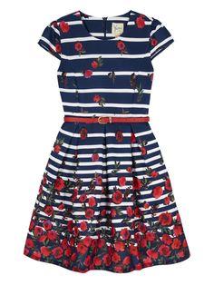 Stripe Floral Print Party Dress Navy | Yumi