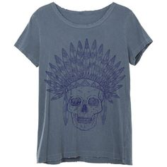 Womens Boho Vintage Indian Skull Feather Headdress Shirt Tee Top... ($25) ❤ liked on Polyvore featuring tops, t-shirts, grey, women's clothing, cotton t shirts, gray t shirt, vintage t shirts, t shirt and vintage shirts
