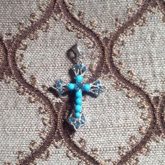 Necklace Blue crystal w/turquoise cross necklace. ✨very sparkly✨ Jewelry Necklaces