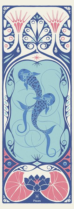 New Art Nouveau Door Shape 67 Ideas Gemini, Pisces Sign, Astrology Pisces, Art Nouveau Poster, Poster Design, Photoshop, Old Art, Simple Art, Les Oeuvres