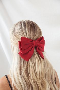 Red Hair Bow, Hair Bows, Red Headband, Headbands, Curled Hairstyles, Headband Hairstyles, Red Hair Accessories, Halloween Hair, Christmas Hairstyles