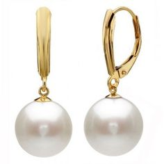14k Yellow Gold 9-10mm Perfect Round White Cultured Freshwater Pearl High Luster, Leverback Earring AAA Quality. Pearls is June Birthstones