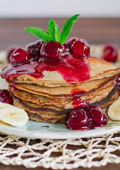 Banana Oatmeal Pancakes with Fresh Cherry Sauce - only a couple ingredients for these pancakes plus a bonus cherry sauce recipe.