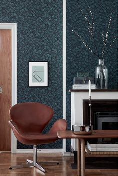 Amorina Teal Leaf Wallpaper from the Scandinavian Designers II Collection by Brewster Green Wallpaper, Scandinavian Wallpaper, Scandinavian Interior Design, Scandinavian Bedroom, Easy Up, Burke Decor, My Living Room, Interior Decorating, Scandinavian Design