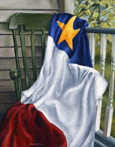 Acadian flag draped on a chair. Painted with oil paints.