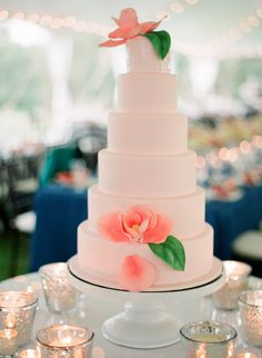 Blush Colored Wedding Cake. Can have teal flowers and gold leafs over a glass table with a teal table cloth?
