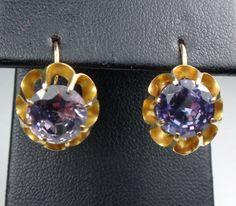 Vintage 18k Gold Earrings Purple Spinel Earrings by BelmarJewelers
