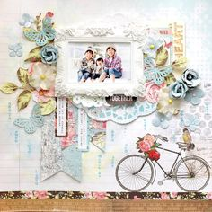 Layout: My Creative Scrapbook Limited Edition kit June Love Scrapbook, Scrapbook Storage, Mixed Media Scrapbooking, Scrapbook Titles, Scrapbook Page Layouts, Scrapbook Cards, Scrapbooking Ideas, Vintage Scrapbook, Cardmaking