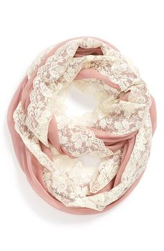 Raspberry-colored Lace trim Infinity Scarf from Nordstrom...could easily diy with fabric and lace from SAS