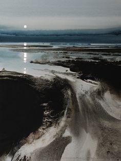 by Naomi Tydeman Aquarelle Watercolor Landscape, Abstract Watercolor, Watercolor And Ink, Watercolour Painting, Landscape Art, Landscape Paintings, Watercolours, Art Aquarelle, Seascape Paintings