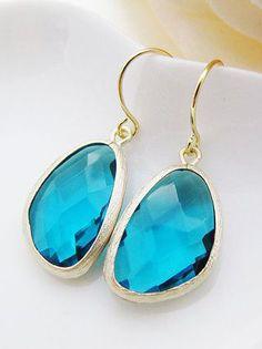 Ocean Blue Glass Matte Gold Trimmed Earrings