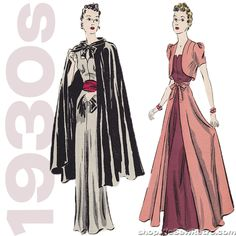 """1930s 40"""" Bust Dress Vintage Sewing Pattern - Pictorial Review 9471"""
