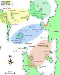 island hopping tour map of El Nido in Palawan Island, the Philippines Palawan Island, El Nido Palawan, Coron Palawan, Travel Tours, Asia Travel, Travel Guide, Solo Travel, Palawan Tour, Philippine Map
