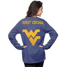 Women's Navy West Virginia Mountaineers The Big Shirt Oversized Long Sleeve T-Shirt 1