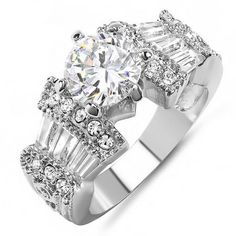 Share and get $20 off your order of $100 or more. 18K White Gold Plated Round & Baguette CZ Cubic Zirconia Ladies Bridal Engagement Solitaire with Side Stones Ring Center Stone 8mm (Available in Size 6 & 7) - Dazzling Rock #https://www.pinterest.com/dazzlingrock/