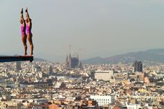 Zsofia Reisinger and Gyongyver Villo Kormos of Hungary compete in the Women's 10m Springboard Diving final on day three of the 15th FINA World Championships at Piscina Municipal de Montjuic on July 22, 2013 in Barcelona, Spain. (Photo by Clive Rose/Getty Images)