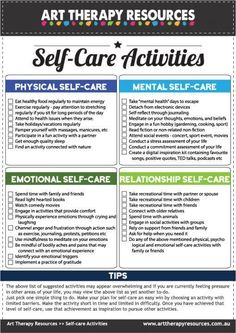 Self-care is physical & psychological care provided to you by you. A self-care plan should include activities that include good physical & emotional health. therapy activities for teenagers Group Therapy Activities, Therapy Worksheets, Activities For Teens, List Of Activities, Counseling Activities, Self Care Activities, Activity List, Self Care Worksheets, Wellness Activities