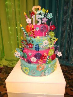 fun birthday cake, love these colors!