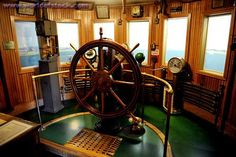 The Wheelhouse Of An Early Great Lakes Freighter Sailing Ship ...