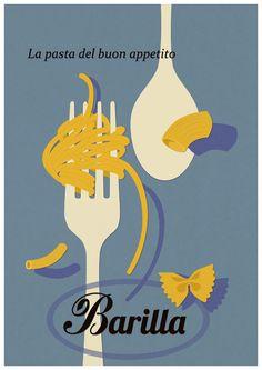 Vintage Barilla Poster - Italian Pasta Art Print by Teacuppiranha - X-Small