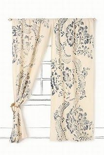 #DIY #curtains and #inspiration... would be perfect w/ a burgundy stencil