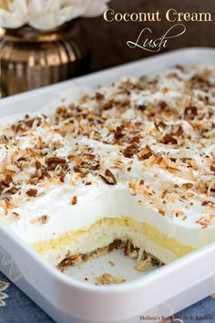 This coconut cream lush is a spin off of a fabulous dessert that's been rotating through Southern kitchens in a variety of flavors for decades. This version begins with a pecan shortbread crust, next a whipped cream cheese layer, then a thick layer of coc Coconut Desserts, Coconut Recipes, No Bake Desserts, Easy Desserts, Delicious Desserts, Coconut Cream Cakes, Coconut Cream Dessert, Coconut Delight Recipe, Coconut Cream Pie Bars Recipe
