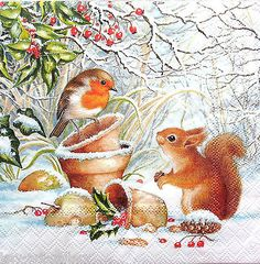 Crafting Paper 4 Vintage Table Paper Napkins For Decoupage Lunch Decopatch Winter Animals & Garden Christmas Scenes, Christmas Animals, Noel Christmas, Vintage Christmas Cards, Christmas Pictures, All Things Christmas, Christmas Crafts, Christmas Squirrel, Christmas Napkins