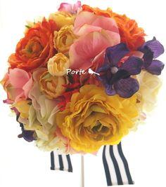鮮やかな小さめの大人婚ラウンドブーケ  Wedding Flower・ぽると のブログ