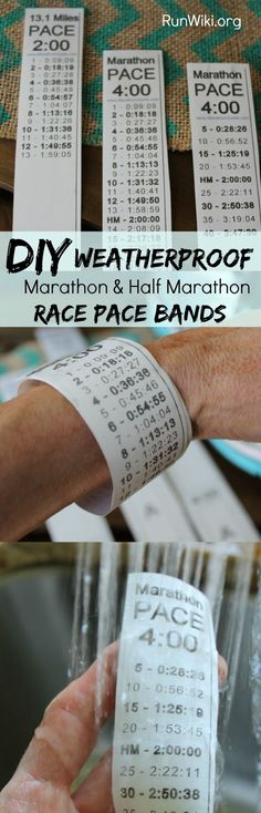 Impossibly easy to make-DIY waterproof homemade race pace band- takes less than five minutes to make. Link to a template for both marathon, half marathon, 5K and 10K- in miles or km. These are a must if you want to stay on pace during a race. Running Motivation and quotes |Training plans| fitness