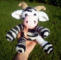 Cow Doll Crochet Amigurumi Black and White Stuffed Toy Doll OOAK Country Cow
