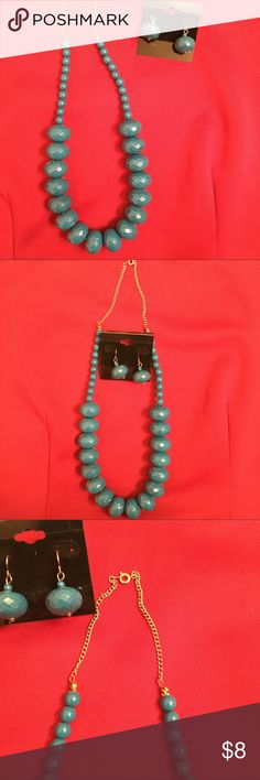 """Turquoise statement beaded necklace Large turquoise beaded statement necklace with earrings. 10.5"""" long. Jewelry Necklaces"""