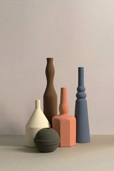 """Designers Sonia Pedrazzini's Le Morandine V. collection of ceramic jars and vases. Inspired by Morandi and painted with matte paint that reminds me of tempera. There's a bold modernity to them that also feels understated."" Source by plalice Vases Ceramic Jars, Ceramic Pottery, Cerámica Ideas, Keramik Design, Vase Design, Paperclay, Color Inspiration, Interior Inspiration, Still Life"