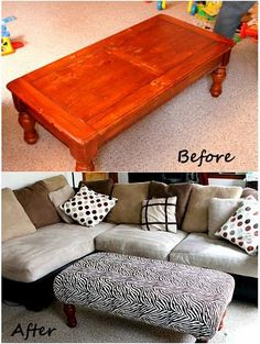 DIY Ottoman from an old coffee table - We have this same coffee table in the kids' play area Old Furniture, Repurposed Furniture, Furniture Makeover, Refurbished Furniture, Furniture Making, Furniture Projects, Home Projects, Home Decoracion, Home Crafts