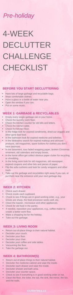 How to transform your home: an easy declutter challenge Pre-holiday declutter checklist Casa Clean, Clean House, Cleaning Checklist, Cleaning Hacks, Cleaning Schedules, Adhd Checklist, Weekly Cleaning, Fee Du Logis, Declutter Your Home