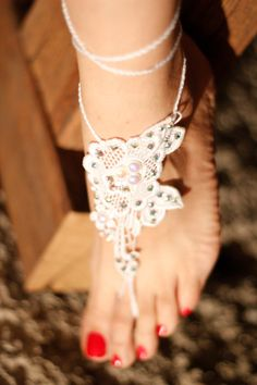 Barefoot Sandals with crystals Swarovsky Foot Jewelry by Kreacje
