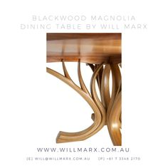 Inspired by the delicate beauty and curved lines of the Magnolia tree, this round dining table is hand shaped from the beautiful Australian Tasmanian Blackwood species. The stunning branch-like table base is elegantly sculptural. Worldwide shipping available. 