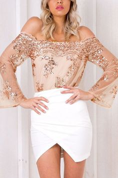 Embroidered Sequin Off Shoulder Sexy Bodysuit