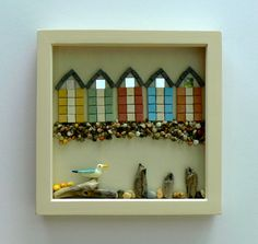Row of Beach Huts Framed Mosaic Picture     by Rana Cullimore                    www.ranacullimore.co.uk
