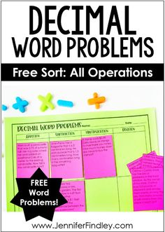 Use this sort to help your students practice determining which operation to use when solving decimal word problems. Check out this post for the free printable and even more tips for teaching decimal word problems. Fraction Word Problems, Math Word Problems, Teaching Decimals, Multiplying Decimals, Dividing Fractions, Math Fractions, Multiplication, Math Classroom, Maths