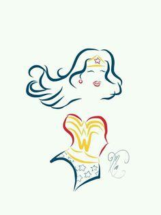 Wonder Woman Comic Book Tattoo Line Art by Miss Coco, via Behance I'd get an Aquaman one. Wonder Woman Art, Wonder Woman Comic, Wonder Women, Wonder Woman Tattoos, Wonder Woman Drawing, Wonder Woman Quotes, Wonder Woman Logo, Tattoo Silhouette, Silhouette Cameo