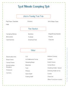 Last Minute Supplies Packing List: Part of the Ultimate Family Camping Packing List With Printables from Simple Family Preparedness: https://simplefamilypreparedness.com/family-camping-list/