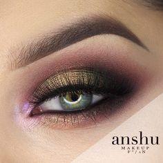 Contrast blend Makeup Tutorial by Anshu. Makeup Geek Duochrome Eyeshadow in Karma and Rockstar. Makeup Geek Eyeshadow in Americano, Cinderella, Corrupt, and Anarchy. Makeup Geek Gel Liner in Immortal.