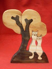 Artesanato Paraty - Artesanato em madeira: Gatos 016 15cm x 20 cm R$ 26