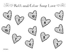 Roll and Color Some Love from Wicked Kinders on TeachersNotebook.com (2 pages)