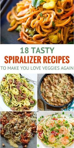 18 Spiralizer Recipes That'll Make You Love Veggies Again Do you hate big, chunky vegetables? Try using your spiralizer to incorporate them in new ways. You won't even realize your eating vegetables and even if you do, you'll love it anyway! Healthy Vegan Dessert, Healthy Dinner Recipes, Healthy Snacks, Vegetarian Recipes, Healthy Eating, Cooking Recipes, Delicious Recipes, Vegan Zoodle Recipes, Cooking Tips