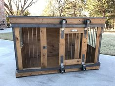 Love this dog crate with the sliding barn door!