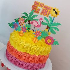 Image may contain: flower Hawaiian Party Cake, Aloha Party, Moana Birthday Party, Hawaiian Birthday, Luau Birthday, Luau Party, 1st Birthday Parties, Hawaii Birthday Cake, Flamingo Cake